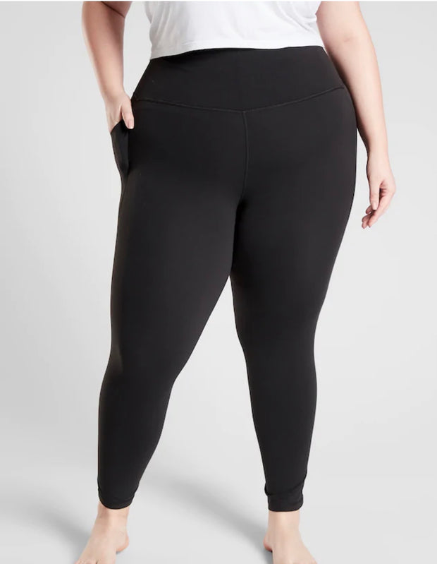 11-09 LEG-M/15 {My Good Side} Black With Pocket Leggings PLUS SIZE XL 2X 3X