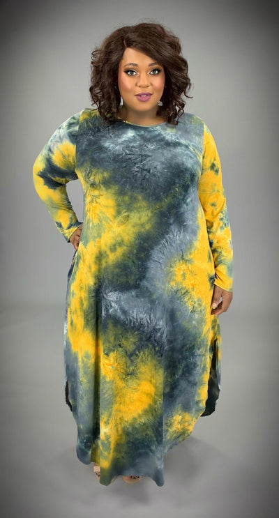 LD-I {Steal All The Attention} Mustard Tie-Dye Maxi Dress EXTENDED PLUS SIZE 3X 4X 5X 6X