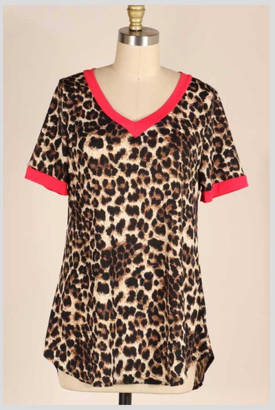 CP-A {Leopard & Lipstick} Leopard V-Neck Top With Red