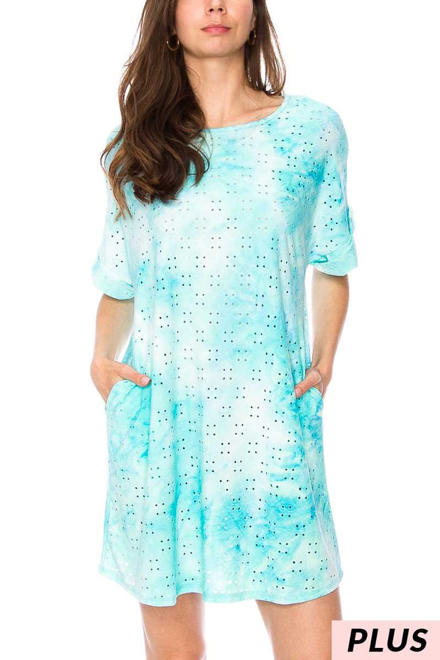 PSS-G{Eye For Beauty} Aqua Tie-Dye Eyelet Design Tunic PLUS SIZE 1X 2X 3X SALE!!