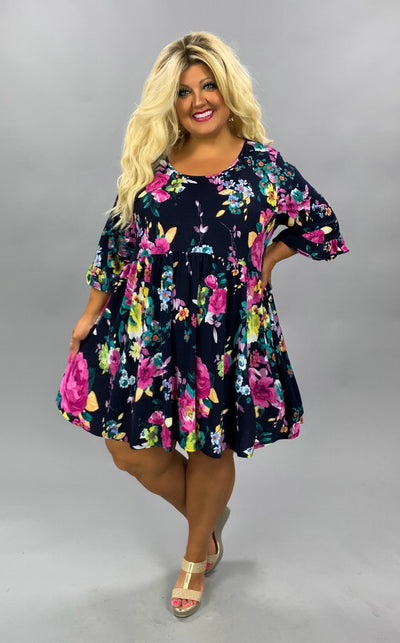 PSS-D {Pleasant Days} Navy Purple Flowers Babydoll Tunic EXTENDED PLUS SIZE 4X 5X 6X SALE!!