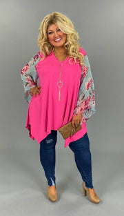 CP-T {Springtime Joy} Hot Pink V-Neck Tunic Blue Floral Sleeve EXTENDED PLUS SIZE 3X 4X 5X 6X