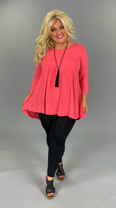 SQ-P (Step Aside) Pink Babydoll Tunic W/ 3/4 Sleeves EXTENDED PLUS SIZE 1X 2X 3X 4X 5X 6X CURVY BRAND