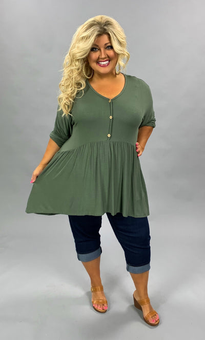 SLS-P {Not So Simple} Olive Babydoll Hi-Lo Top with Buttons Extended Plus Size