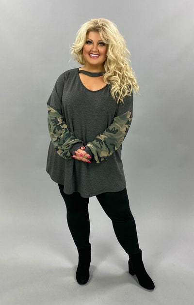 23 CP-A {Can't Find You} SALE!! Grey Camo Bar Neck Tunic CURVY BRAND EXTENDED PLUS SIZE 3X 4X 5X 6X