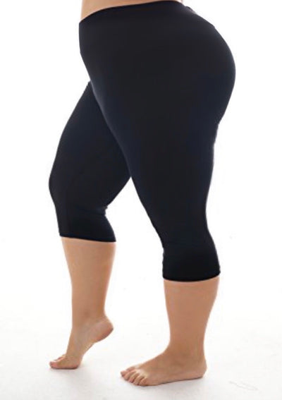 Leg/16 {Spring Time} Black Capri Leggings With Banded Waist Extended Plus