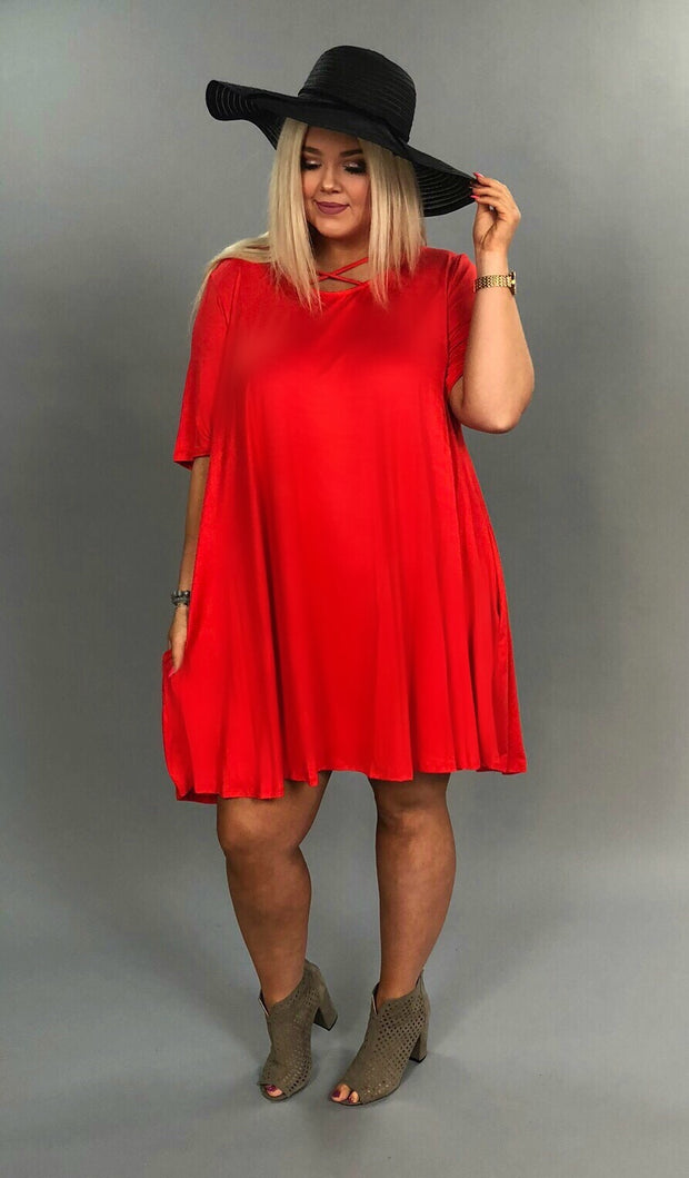 SSS-A {Dream Come True} Red Dress W/ Criss Cross Detail Extended Plus