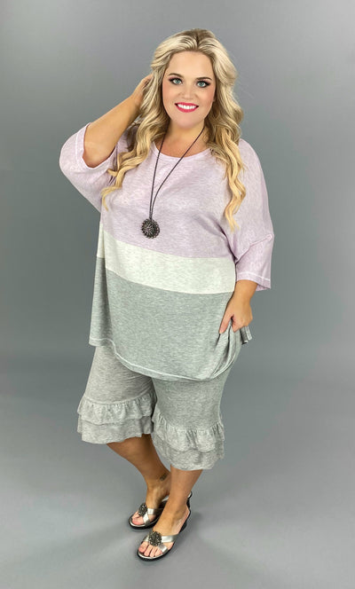 CP-Q {Simply Living} Lavender/Ivory/Grey Contrast Tunic SALE!!