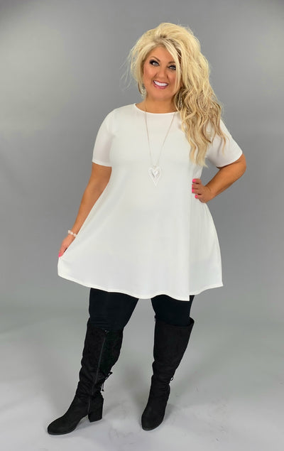 SSS-J {Casual Cutie} Ivory Short-Sleeved Tunic with Pockets