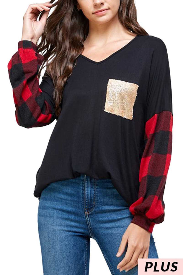 10-09 CP-H {Glitter Queen} Black Red Plaid Gold Pocket Top PLUS SIZE XL 2X 3X