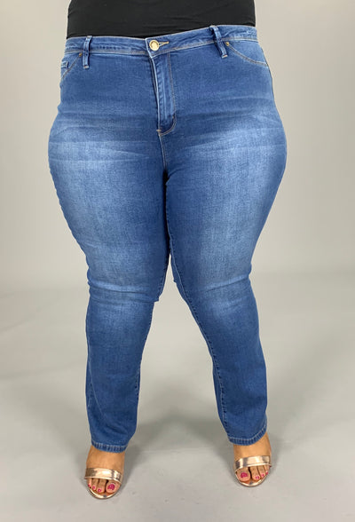 BT-B (Forever Your Girl ) Medium Denim Jeans Bootcut PLUS SIZE