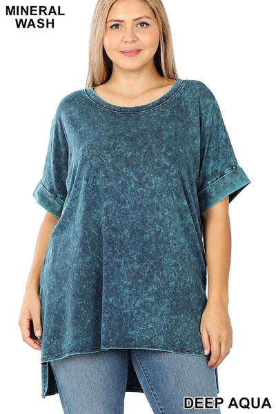 53 PSS-I {Happy Heart} Dark Teal Mineral Wash Tunic Plus 1X 2X 3X