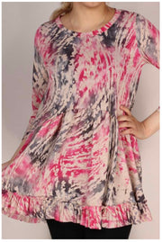 PQ-A {Always Sincere} Beige Pink Grey Print Babydoll Tunic PLUS SIZE XL 2X 3X