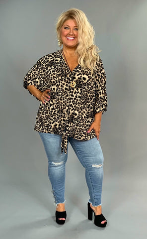 PQ-G {See The World} Leopard Print Button-Front Tunic with Tie Extended Plus