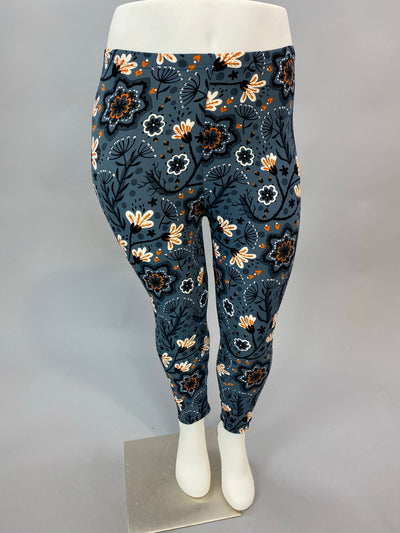 Leg-12 {Midnight Blooms} Multi Floral Capri Leggings EXTENDED PLUS SIZE 3X/5X