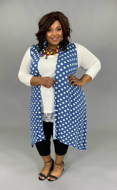 OT-X {On The Dot} Denim Blue Polka-Dot Vest PLUS SIZE 1X 2X 3X SALE!!