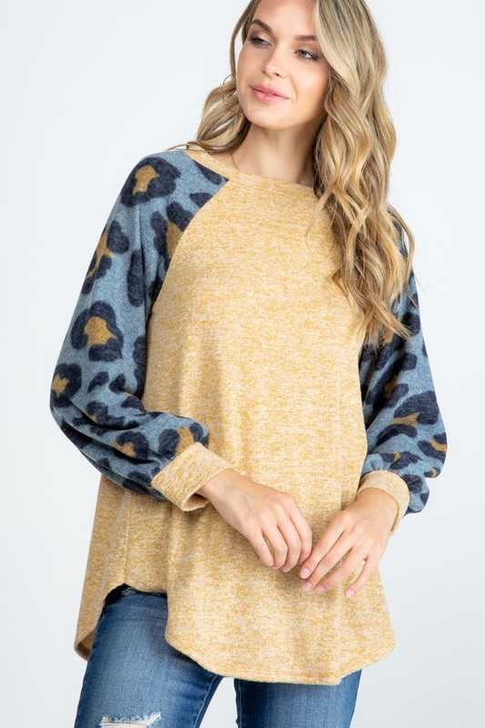 10-09 CP-G {The Look} Camel Demin Leopard Sleeve Tunic PLUS SIZE XL 2X 3X