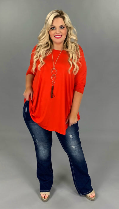 SQ-B {Cover Basics} Tomato Red Quarter Sleeves Tunic  EXTENDED PLUS 3X 4X 5X 6X