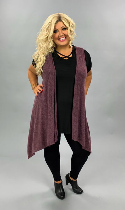 OT-M {Relaxed & Cozy} Asymmetrical Berry Soft Knit Vest