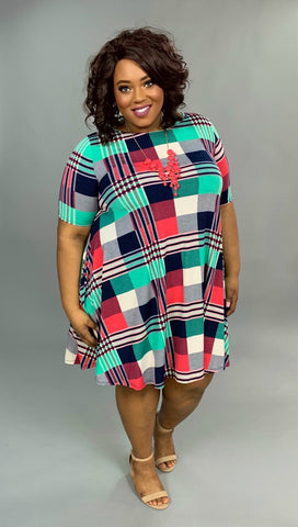 PSS-X {Special Thanks} Pink/Green Plaid Dress with Pockets