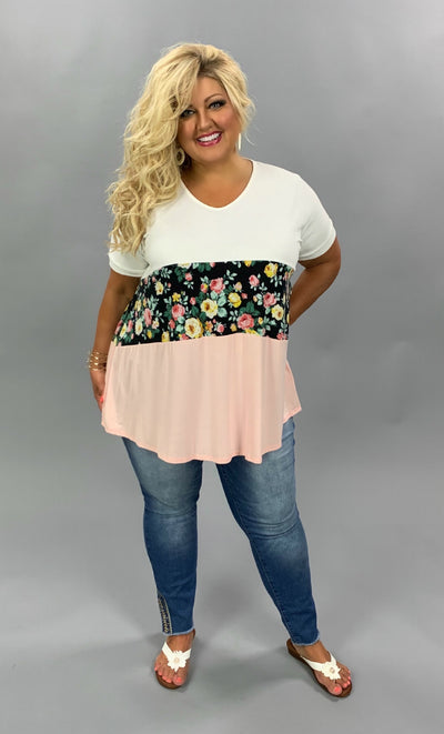 CP-N {Southern Beauty} Ivory, Floral, & Light Pink Contrast Tunic EXTENDED PLUS SIZE 1X 2X 3X 4X 5X 6X SALE!!