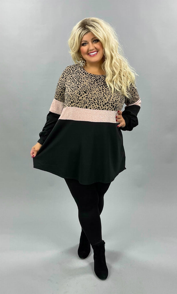 42 CP-L {Weekend Wind} SALE!! Mocha Pink Black Contrast Tunic CURVY BRAND EXTENDED PLUS SIZE 3X 4X 5X 6X