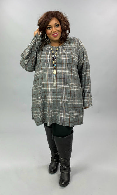 PLS-W {Business As Usual} Black White Gold Plaid Knit Tunic EXTENDED PLUS SIZE 4X 5X 6X