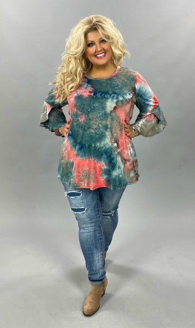 PQ-Z {Time To Unwind}  SALE!! Pink Blue Tie Dye Bell Sleeve Tunic BUTTER SOFT CURVY BRAND EXTENDED PLUS SIZE 3X 4X 5X 6X