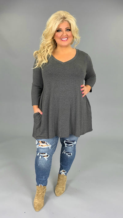 SQ-G {Let Me Simplify}  SALE!! Charcoal V-Neck Tunic with Side Pockets