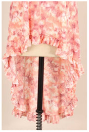 PSS-B {Pretty As A Peach} Coral Print Ruffle Hem Tunic PLUS SIZE 1X 2X 3X SALE!!
