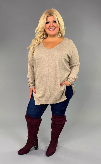 SLS-T {Lost For Words} Taupe V-Neck Sweater with Split Sides