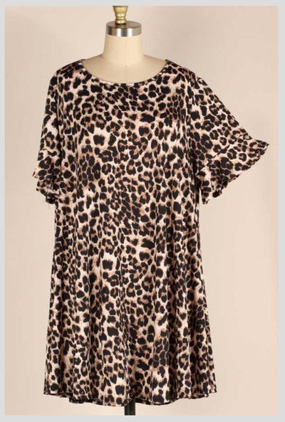 PSS-G {For The Girls} Leopard Print Ruffle Sleeve Tunic EXTENDED PLUS 3X 4X 5X