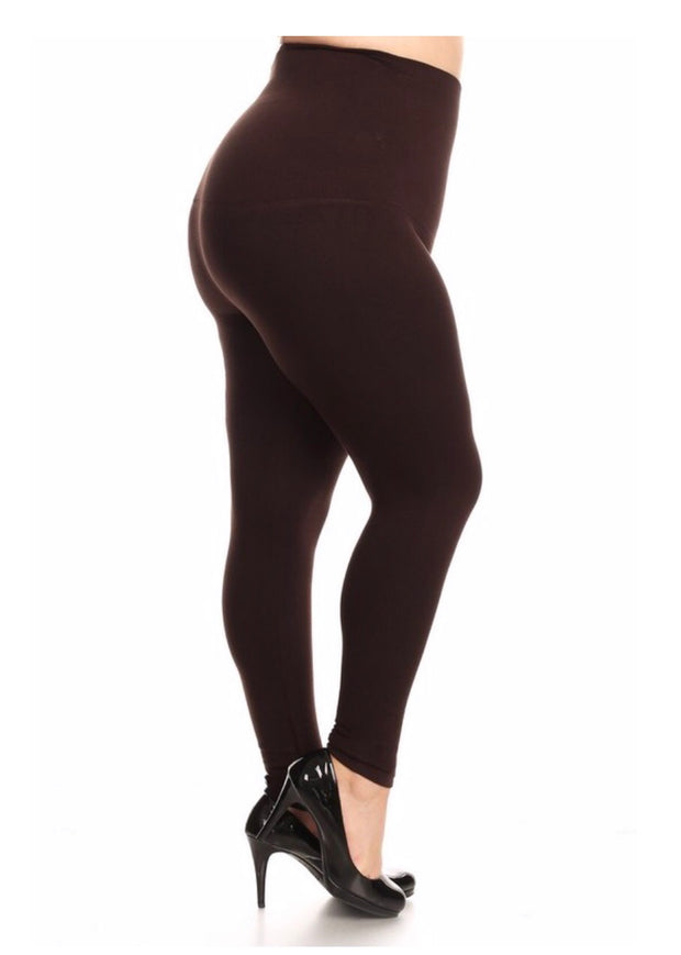 LEG/SQ French-Terry BROWN Tummy Control Leggings