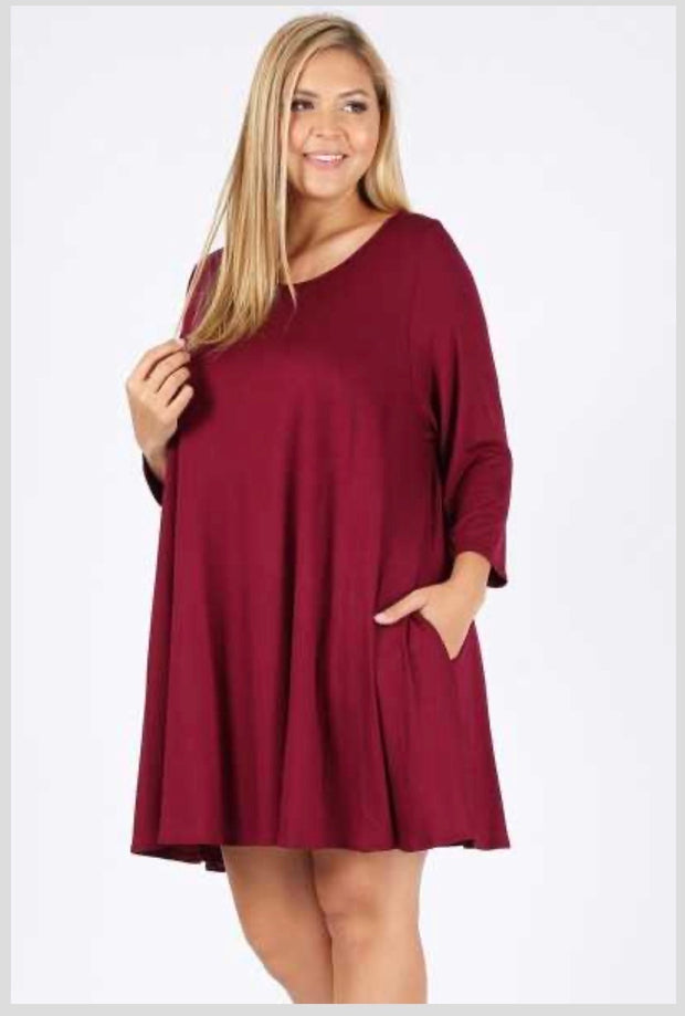 SQ-N (Simple Comforts) Solid Burgundy Dress With Pockets EXTENDED PLUS SIZE 3X 4X 5X