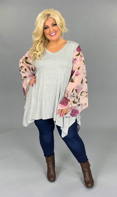 CP-E {Talk The Talk} Gray V-Neck Top Floral Angel Sleeves PLUS SIZE 1X 2X 3X