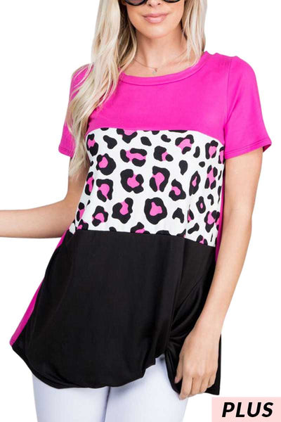 CP-P {Block Party} Magenta Leopard, Black Tunic Twist Hem PLUS SIZE 1X 2X 3X