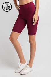 BT-A2 {Walk With Me} Burgundy Bike Shorts W/ Back Key Pocket PLUS SIZE 1X 2X 3X SALE!!