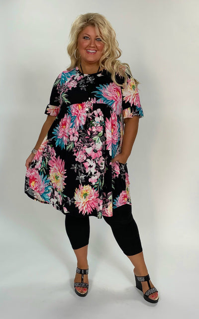PSS-H {I Miss You} Black/Pink Floral Babydoll Tunic or Dress Extended Plus SALE!!