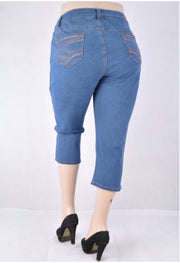BT-X {Hangin' By A Thread} Medium Blue Crop Jeans w/Pocket Detail EXTENDED PLUS SIZE 24 26 28