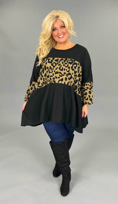 CP-K {Never Say Goodbye} Contrast Knit Black/Leopard Top EXTENDED PLUS 4X 5X 6X SALE!!