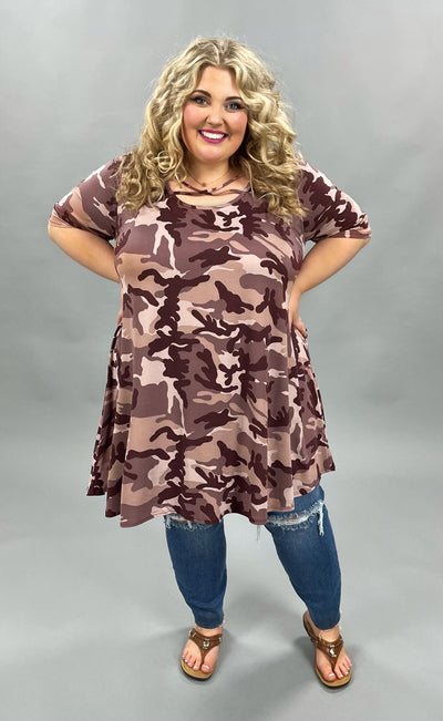 62 PSS-T {Camo Fun} Burgundy Mauve Camo Print Dress EXTENDED PLUS SIZE 3X 4X 5X