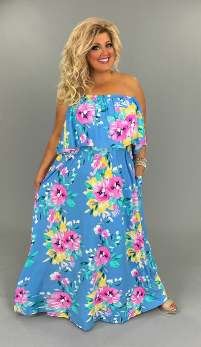 LD-M/B {Reach For The Sky} Blue Floral Maxi Dress   PLUS SIZE 1X 2X 3X