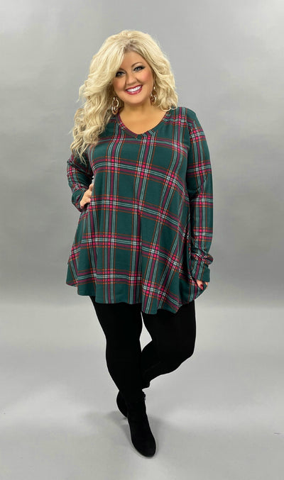 35 PLS-M {Holiday Gifts}  SALE!! Green Magenta Plaid V-Neck Tunic PLUS SIZE 2X 3X 4X