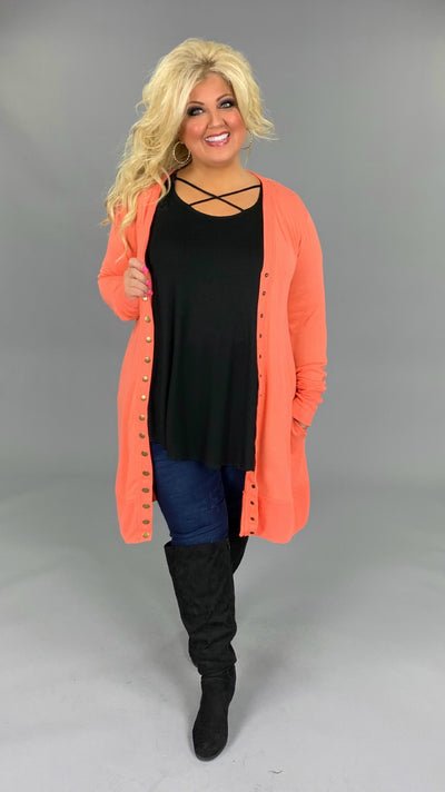OT-S {Making A Statement} Coral Snap Cardigan Sweater PLUS SIZE 1X 2X 3X