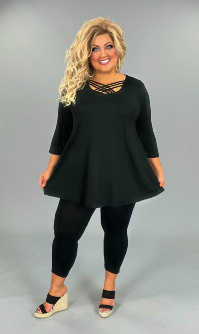 SQ-D/X {California Dreaming} Sale! BLACK Cage Neck Top EXTENDED PLUS SIZE 3X 4X 5X 6X