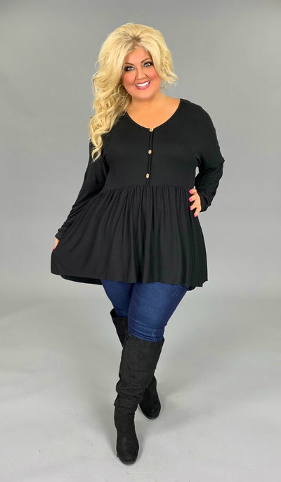 SLS-M {Not So Simple} Black Babydoll Hi-Lo Top with Buttons Extended Plus Size