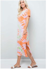 LD-N {Always Happy} Orange, Lime, & Pink Tie Dye Maxi Dress PLUS SIZE 1X 2X 3X SALE!!