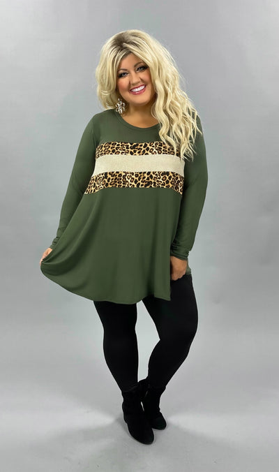 42 CP-I {Animal Within}  SALE!! Olive Leopard Glitter Top CURVY BRAND EXTENDED PLUS SIZE 3X 4X 5X 6X