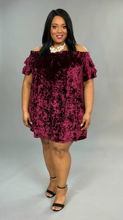 "OS- U ""UMGEE"" SALE!! Burgundy Crushed Velvet Off-Shoulder Dress or Tunic SALE!"