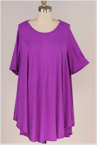 47 SSS-C {Simple But Sweet} Magenta Aline Dress w/Pockets EXTENDED PLUS SIZE 3X 4X 5X